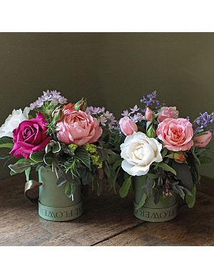 THE REAL FLOWER COMPANY English Rose mini hat box duo