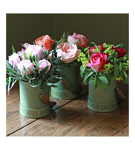 THE REAL FLOWER COMPANY Garden Rose & Herb hat box trio