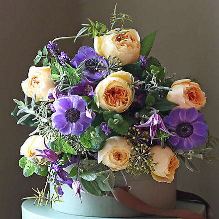THE REAL FLOWER COMPANY Rose Scented Golden & Purple bouquet