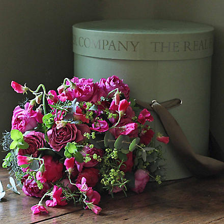 THE REAL FLOWER COMPANY Hot pinks & lime hat box