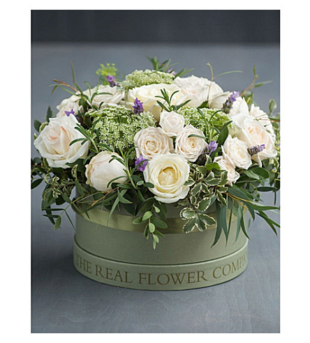 THE REAL FLOWER COMPANY Ivory hat box arrangement