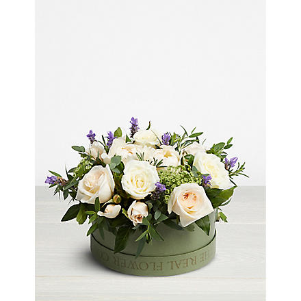 THE REAL FLOWER COMPANY Ivory rose hat box 26cm