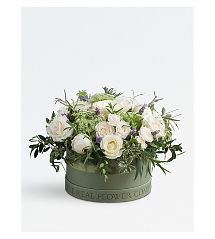 THE REAL FLOWER COMPANY Scented Ivory Rose and Lavender hat box