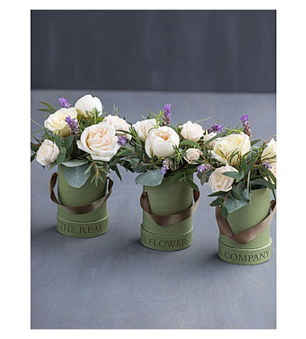 THE REAL FLOWER COMPANY Ivory hat box trio