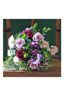 THE REAL FLOWER COMPANY Lilac Rose, Lavender & English Sweet Pea luxury flower bouquet