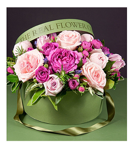 THE REAL FLOWER COMPANY Mixed pink rose hat box