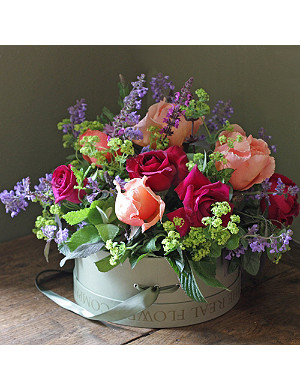 THE REAL FLOWER COMPANY Perfumed English Garden Bright hat box