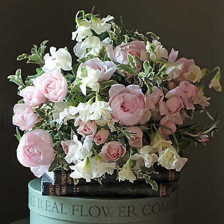 THE REAL FLOWER COMPANY Pastel Pink & Ivory Sweet Pea Rose Bouquet