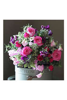 THE REAL FLOWER COMPANY Pink & Purple Sweet Pea & Rose bouquet