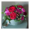 THE REAL FLOWER COMPANY Pink and red hat box arrangement
