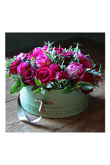 THE REAL FLOWER COMPANY Red & Pink roses hat box