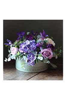 THE REAL FLOWER COMPANY Scented Spring Rose & Anemone Purple Hat Box Arrangement
