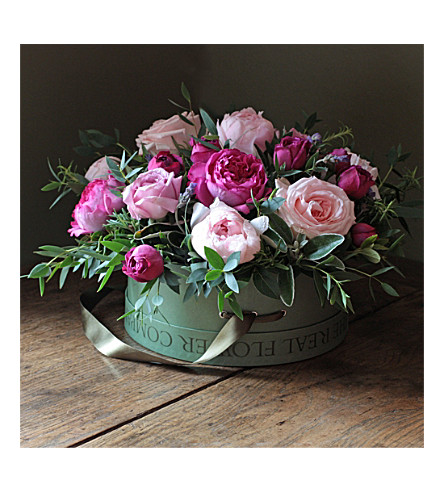 THE REAL FLOWER COMPANY Scented Mixed Pink bouquet Hat Box
