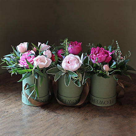 THE REAL FLOWER COMPANY Scented Mixed Pink Trio hat box