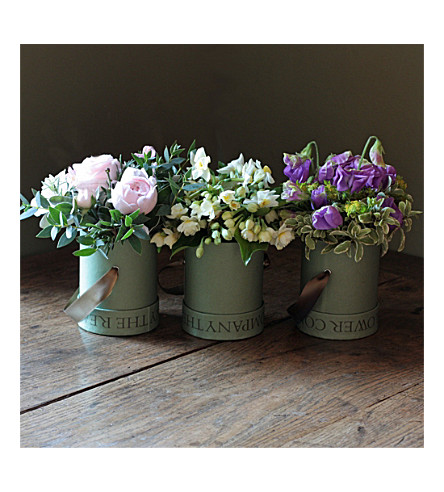 THE REAL FLOWER COMPANY Scented Rose, Narcissi and Sweet Pea Hat Box Trio