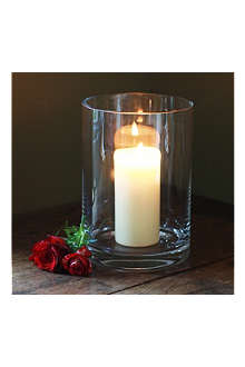THE REAL FLOWER COMPANY Tall hurricane lamp with candle