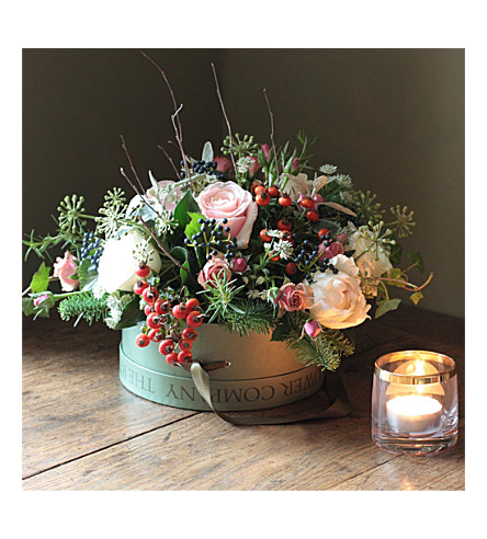 THE REAL FLOWER COMPANY Winter Woodland hat box arrangement