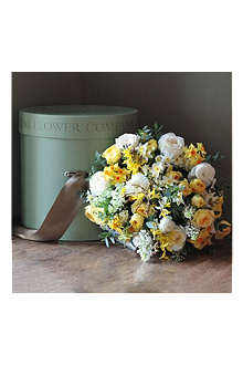 THE REAL FLOWER COMPANY Luxury Spring Yellow, White Lilac Rose Hat Box bouquet