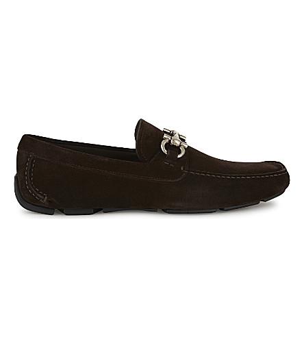 SALVATORE FERRAGAMO Parigi leather driving shoes (Dark+brown