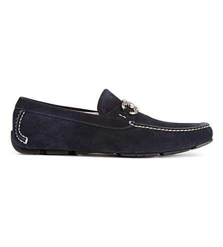 FERRAGAMO Parigi horsebit driver shoes (Navy