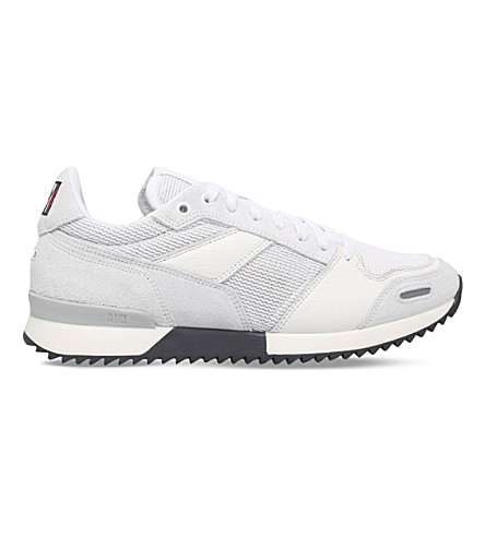 AMI PARIS Running suede, mesh and canvas trainers (White