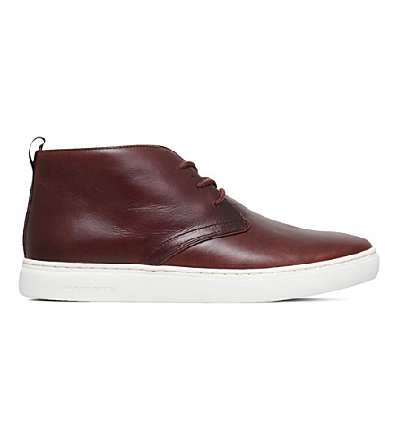 PAUL SMITH Fong leather chukka boots (Mid+brown