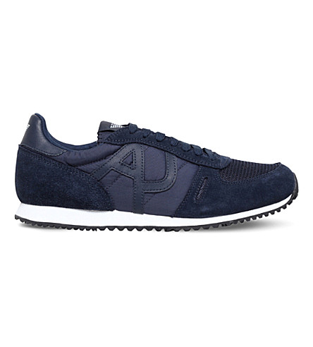 ARMANI JEANS Logo-embossed suede running trainers