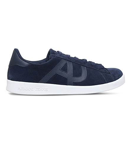 ARMANI JEANS Logo-detail suede trainers (Navy