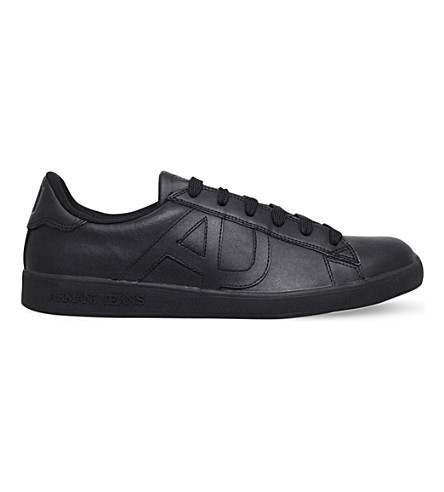 ARMANI JEANS Logo-embossed leather tennis trainers (Black