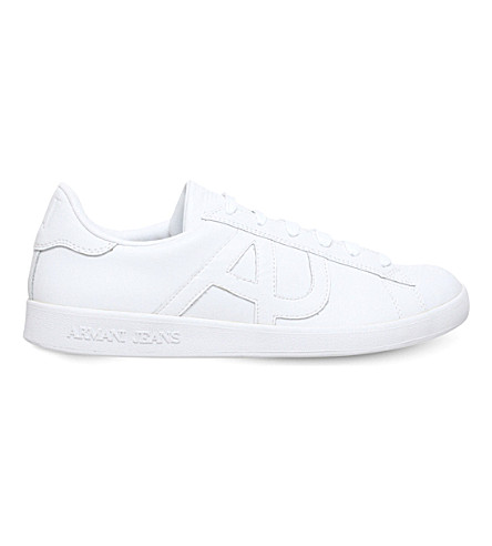 ARMANI JEANS Logo-embossed leather tennis trainers (White
