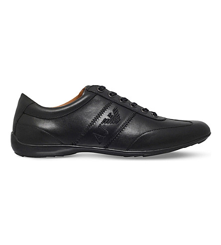 ARMANI JEANS Eagle City leather trainers (Black