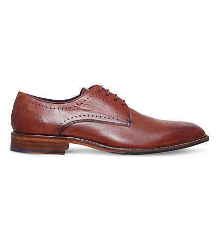 TED BAKER Marar punched brown leather derby shoes (Tan