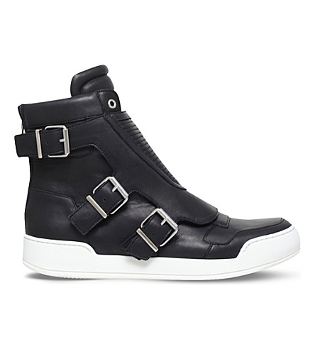 BALMAIN Biker leather high-top trainers (Black