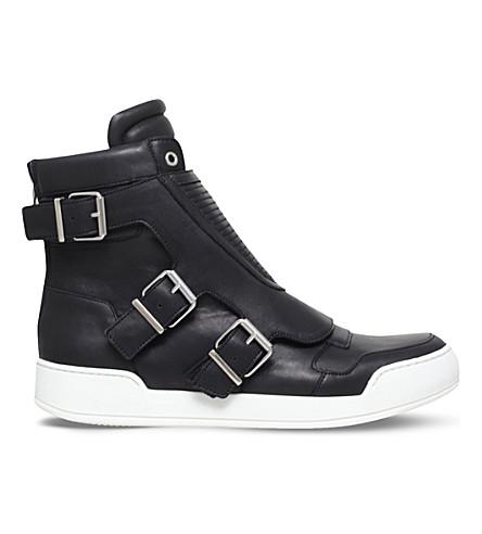 BALMAIN Biker leather high-top trainers (Black