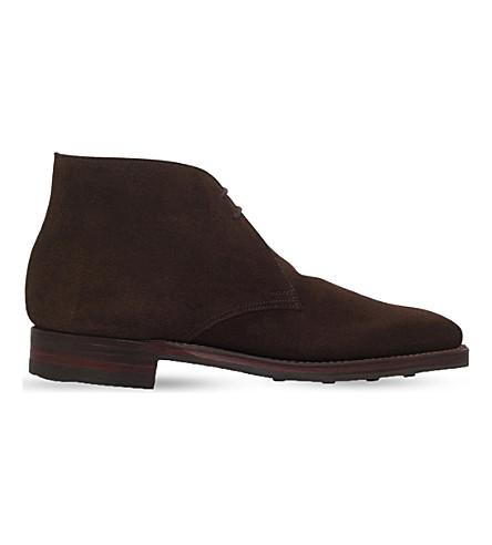 CROCKETT & JONES 伯麂皮绒 chukka 沙漠靴 (深色 + 棕色