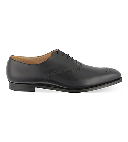 CROCKETT & JONES Edgeware punched leather Oxford shoes (Black