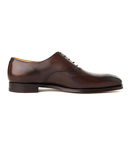 CROCKETT & JONES Edgware leather oxford shoes (Dark+brown