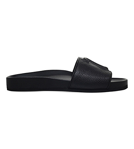 JOSHUA SANDERS 23 leather pool slides (Black