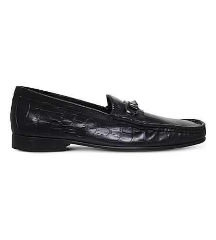 KG KURT GEIGER Devlin crocodile-embossed leather loafers (Black