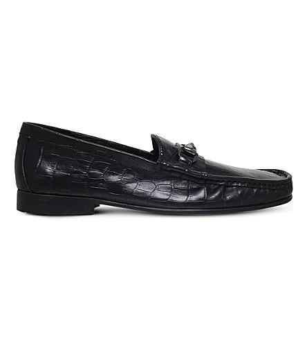 KG KURT GEIGER Devlin crocodile-embossed leather loafers (Black
