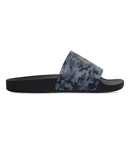 KG KURT GEIGER Waikato camo-patterned slide sandals (Grey