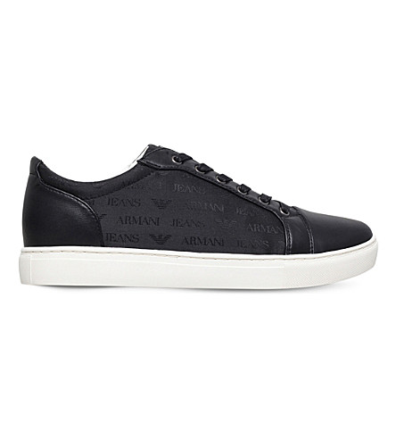 ARMANI JEANS Tessuto leather sneakers (Black