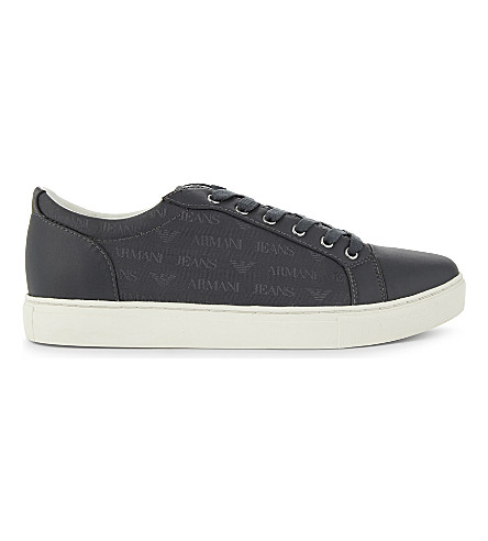 ARMANI JEANS Tessuto leather and textile low-top trainers (Grey