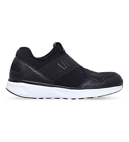 ARMANI JEANS Elastic running trainers (Black