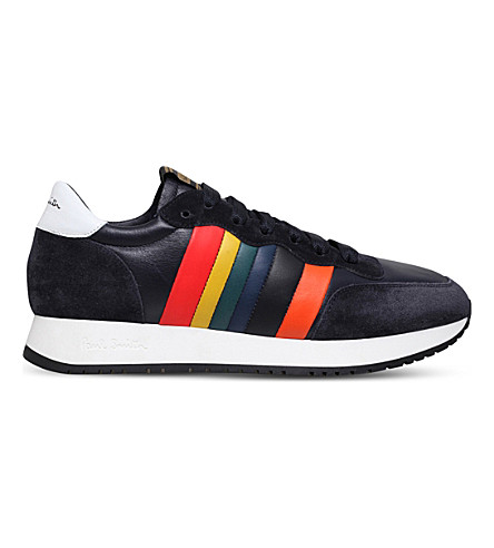PAUL SMITH Stitch leather sneakers (Navy