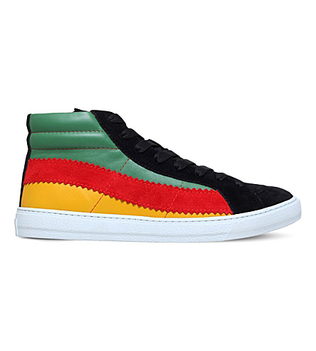 PAUL SMITH Lynn Basket high-top suede and leather trainers (Blk/green