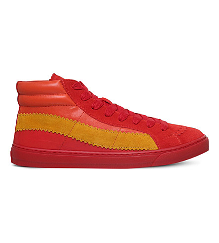 PAUL SMITH Lynn Basket high-top suede and leather trainers (Red+comb