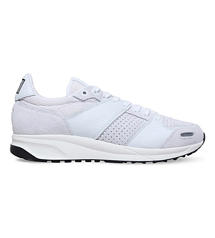 AMI PARIS Running nylon, suede and nappa leather trainers (White