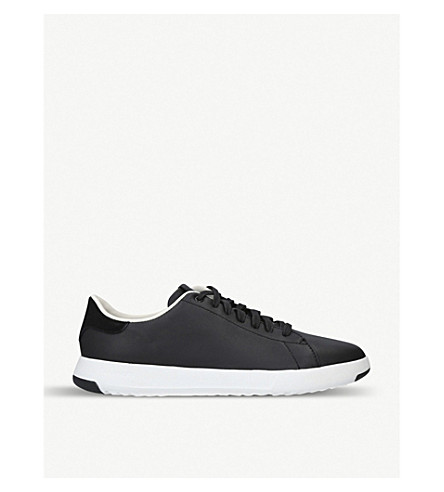 COLE HAAN Grandpro Tennis leather trainers (Blk/white