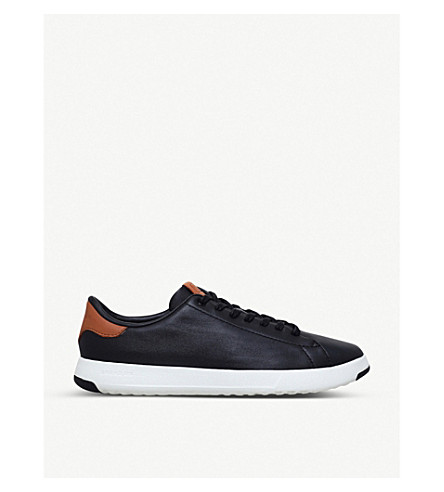 COLE HAAN GrandPrø Tennis leather trainers (Blk/brown